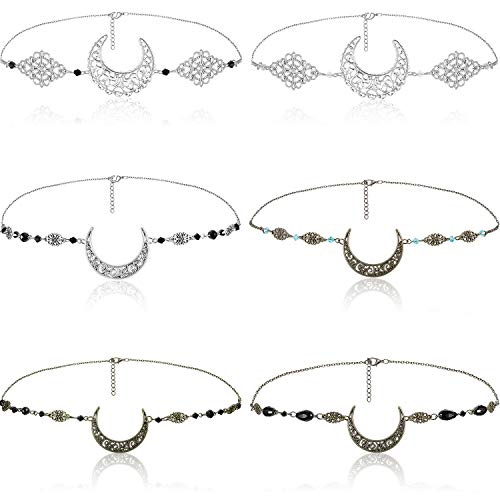 6 Stück Halbmond Kopfkette Boho Vintage Mond Kopfkette Mond Kristall Anhänger Haarschmuck Haarband Festival Halloween Abschlussball Hochzeit Kopfbedeckung für Frauen und Mädchen