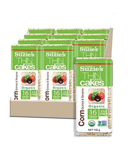 Suzie's Corn, Quinoa & Sesame Thin Cakes Case of 12 packages 4.6 oz. Each
