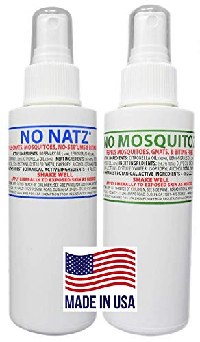 NO NATZ / NO MOSQUITOZ | Gnat, Mosquito and Biting Flies Repellant (4oz. - 2pk.) | Effective Personal Botanical Bug Spray | Hand-Crafted DEET-Free Hypoallergenic | Non-Greasy Formula