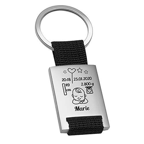 Schlüsselanhänger mit Gravur zur Geburt (schwarz, 1 Kind): personalisiert mit Name, Datum, Uhrzeit, Größe und Gewicht - persönliche Geschenkidee zur Taufe für Jungs und Mädchen