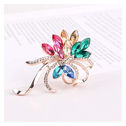 WanXingY Fashion Brooch Ladies Exquisite Small Brooch Brooch Jewelry Gift For Women Men Crystal Rhinestone Brooch Glass Brooch (Color : Gold color)