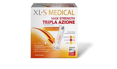 XL-S MEDICAL Max Strength Trattamento Dimagrante Forte, Bustine Orosolubili per una Gestione Ottimale del Peso, 60 Sticks