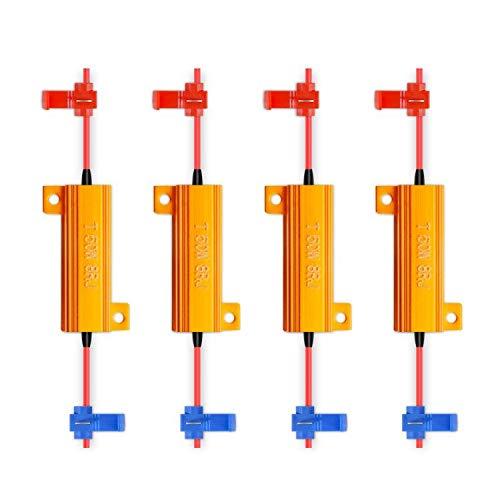 TUINCYN 4pcs 50W 8 ohmios LED Resistencias de carga Señal de giro fija Hyper Flash Faros Bombilla Faros antiniebla Flash Canbus Error decodificador Condensador Decodificador Cable