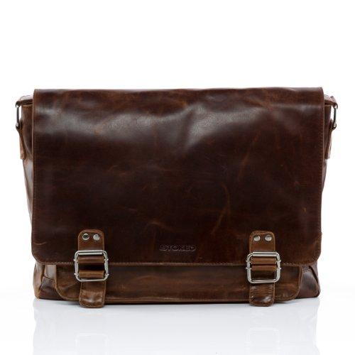 STOKED Messenger bag NATHAN - schoudertas groot geschikt voor 15,4 inch - laptoptas echt leer bruin-cognac