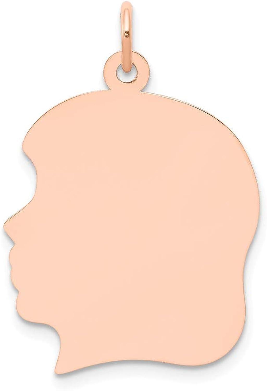Beautiful pink gold 14K 14k pink gold Plain Large .011 Gauge Facing Left Engraveable Girl Head Char