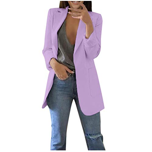 QIQIU Womens Office Plus Size Long Solid Long Sleeve Pocket Elegant Cardigans Suit Casual Jacket Coats Purple