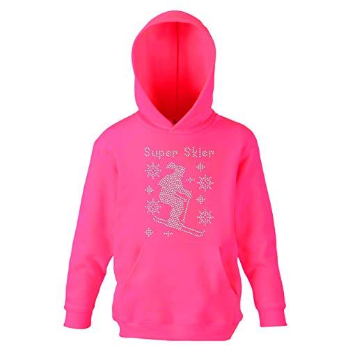 Super Skier Mädchen Hoodie Kristall Strass Premium Pullover Kinder Kapuzenpullover Kinder Sweatshirt Hoodie Gr. 9-10 Jahre, Electric Pink