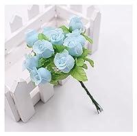 造花12ヘッド/バンドル造花クリスマスホームウェディングDIYギフトデコレーションフェイクプラント用シルクローズミニブーケ(1ブルー)