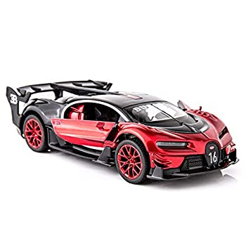 BDTCTK Bugatti Vision GT Supercar 1/32 Zinc Alloy Die Casting Pull Back Car Model Toy Sound and Light for Boy Girl Gift (red)