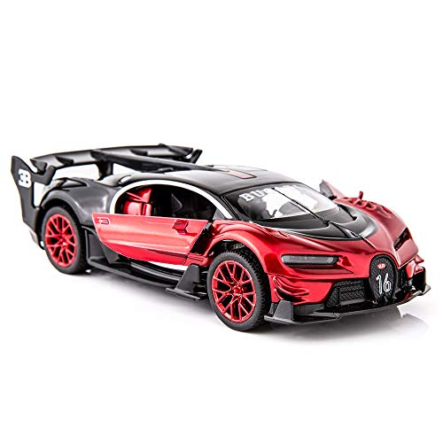 BDTCTK Bugatti Chiron Vision Grand Turismo 1/32 Zinc Alloy Die Casting Pull Back Car Model Toy Sound and Light Boy Girl Gift (red)