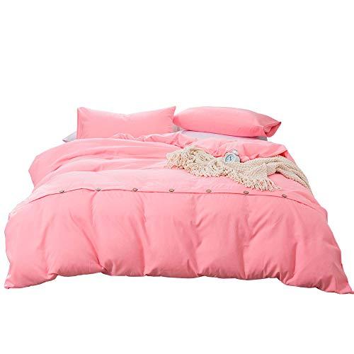 Effen dekbedovertrekset, ritssluiting en stropdas van microvezel-dekbedovertrek, 4-delige dekbedovertrek met knopen lus, slaapzaal voor eenpersoons, met tweepersoonsbed.