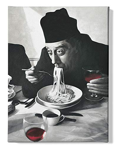 1art1 Kochkunst - Spaghetti, Rotwein, Don Camillo Bilder Leinwand-Bild Auf Keilrahmen | XXL-Wandbild Poster Kunstdruck Als Leinwandbild 80 x 60 cm
