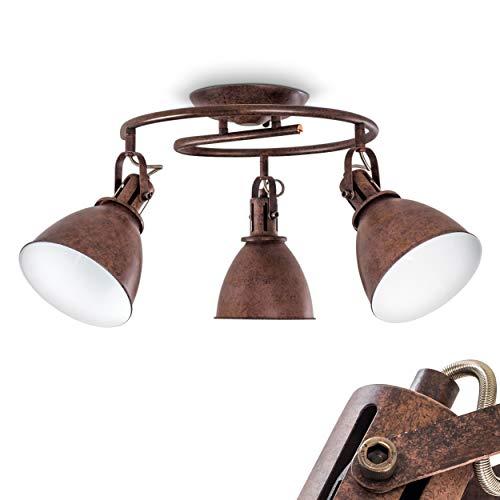 Faretti da Soffitto Design Industriale Rustico Modello Koppom- Illuminazione Moderna per Cucina e Soggiorno- Faretti Orientabili Color Ruggine