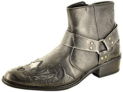 My Perfect Pair Herren Western Cowboy Stiefeletten mit spitzem Zehenbereich, durchgehender Reißverschluss, Grau - grau - Größe: 42 2/3 EU