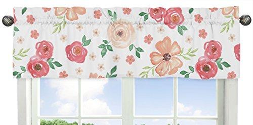Sweet Jojo Designs - Cenefa para ventana de acuarela, diseño floral, color melocotón y verde