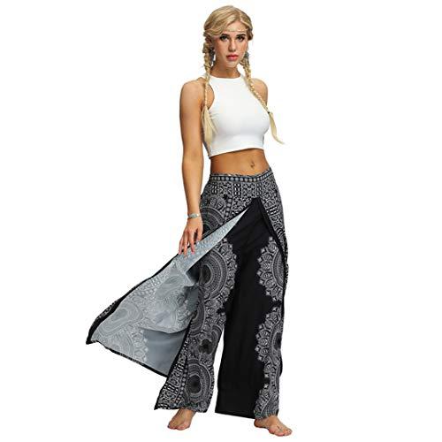 Pantalones de Yoga Holgados de Cintura Alta con Estampado Sexy para Mujer Leggings Deportivos de Yoga Push Up de colorvalue Black-2 XL
