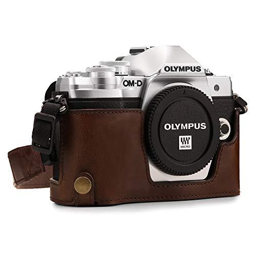 MegaGear Ever Ready MG1351 - Funda de Piel con Correa para cámara Olympus OM-D E-M10 Mark III, Color marrón Oscuro