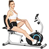 Recumbent Exercise Bike for Home Use, Stationary Cycle Machine with 8 Magnetic Resistance Levels, Hand Pulse Sensors, Adjustable Comfortable Seat for Adults