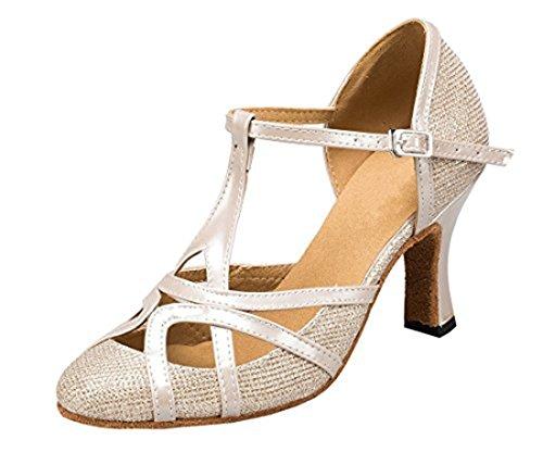 TDA Womens Mid Heel Champagne PU Leather Salsa Tango Ballroom Latin Party Dance Shoes CM101 8 M US