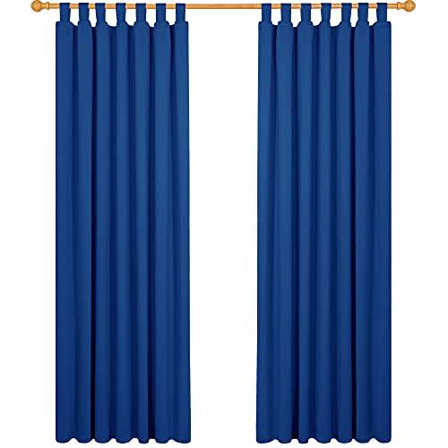 Deconovo Cortinas Dormitorio Moderno Blackout Curtain Suave para Ventanas de Habitación Infantil con Trabillas 2 Piezas 140 x 210 cm Azul Oscuro