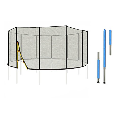 LifeStyle ProAktiv L-F-NP12-400 Sicherheitsnetz inkl. Netzstangen & Klammern für Gartentrampolin 400cm 13FT