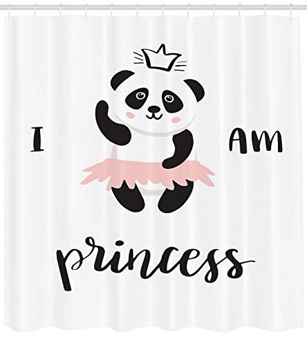 WANGXIAO Ich Bin eine Prinzessin Duschvorhang Ballerina Panda geeignet für Badezimmer Wasserdichten Duschvorhang