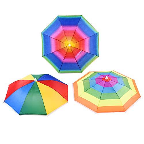 CAILI Faltbarer Sonnenschirm Regenschirm Hut,Elastisches Stirnband mit Schirmmütze,Kopfbedeckung für Outdooraktivitäten-Aktivitäten wie Angeln in zufälliger Farbe(3 pcs)