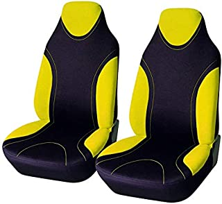 AUTOYOUTH 1PC Racing Style Integrated Front Bucket Seat Cover Flat Cloth Two Tone Colors(Red/Black) Auto Accessories Universal Fits for Most Cars, SUV, Truck ¡­ (YELLOW-2)