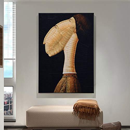 Geiqianjiumai Retro wandzeildoek van de literaire kop van abstracte kunst, het frameloze schilderij van het moderne decoratiesplakaat schild