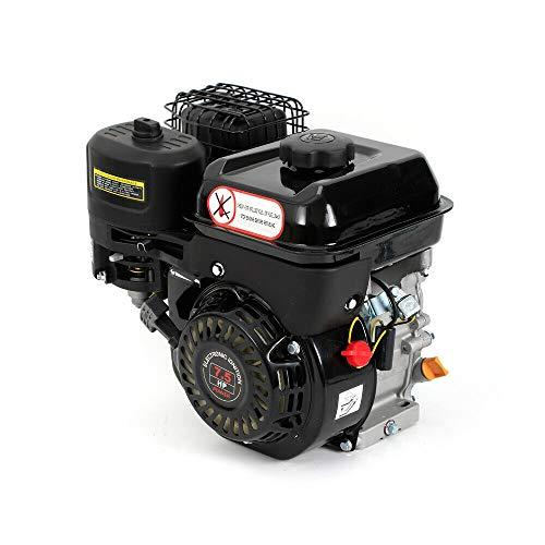 Motor de gasolina de 7,5 CV, 4 tiempos, motor de accionamiento, 5100 W, motor de arranque, refrigerado por aire, motor de gasolina (un solo cilindro inclinado 25°, OHV, negro).
