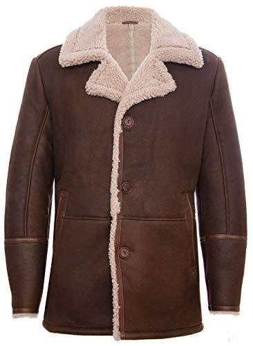 Infinity Leather Herren Braun German Classic Echtes Schaffell Lammfell Leder Cromby Jacke Mantel S