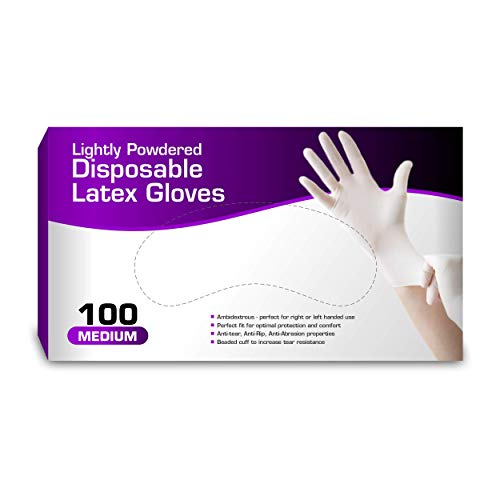 Disposable Latex Gloves, Lightly Powdered, Comfortable Fit 100 per Box (Medium)