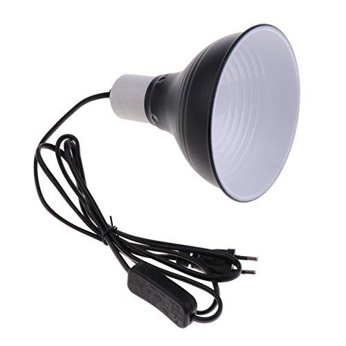 PETSOLA Terrarium Reflektor Lampenschirm mit E27 Lampenfassung, Kabel und Schalter für Uva Uvb Birne Heizlampe