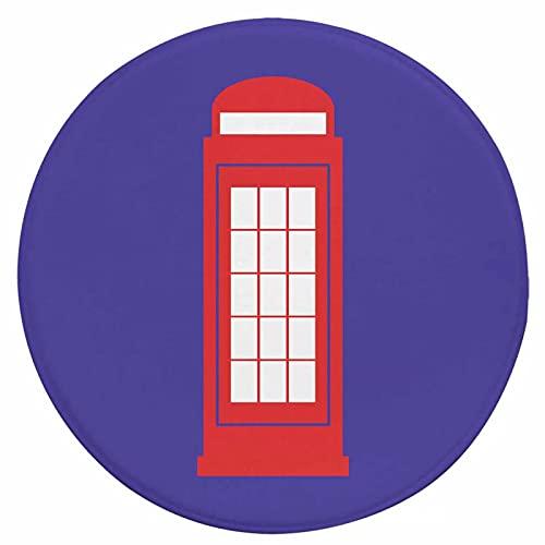Felpudo de entrada para interiores y exteriores, diseño de perfil bajo, ideal para interiores y exteriores, alfombra para entrada, redonda de 22 pulgadas, cabina de teléfono rojo