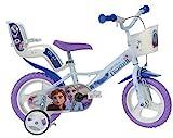 Frozen Kinderfahrrad Eiskönigin Mädchenfahrrad – 14 Zoll | TÜV geprüft | Original Disney Lizenz | Kinderrad mit Stützrädern, Puppensitz und Fahrradkorb - Das Anna und Elsa Fahrrad als Geschenk für Mädchen