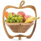 GIVROLDZ Cesta Plegable en Forma de Manzana, Soporte para tazón de Fruta de bambú, Cesta de Almacenamiento y Tabla de Cortar, Cesta de Madera para el hogar de Creatividad,Natural