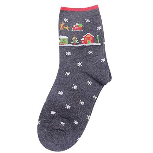 TWIFER Weihnachten Frauen Mädchen Socken Nette Unisex Baumwolle Christmas Weiche Warme Strümpfe (Dunkelgrau, Freie Größe)