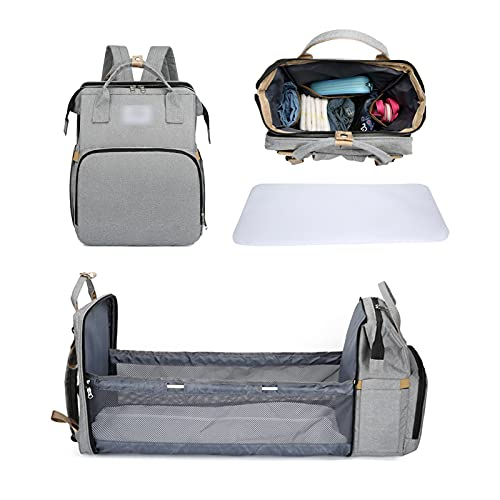 YYL Diaper Bag Backpack with Changing Station, Foldable Baby Bed Back Pack with Changing Pad Multifunctional Waterproof Mommy Bag, for Baby Stuffs Organizer Gray