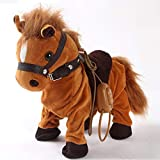 Haktoys Walk Along Horse with Remote Control Leash, Dancing Singing Walking Musical Pony Pet, Realistic Animal Design with 9 Different Child-Friendly Songs