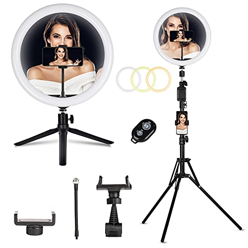 12 Inch Ring Light, All in One Ring Light Kit with Tripod Stand & Desktop Stand, Super Bright, 3 Color Modes, 10 Adjustable Brightness for Live Stream, Makeup