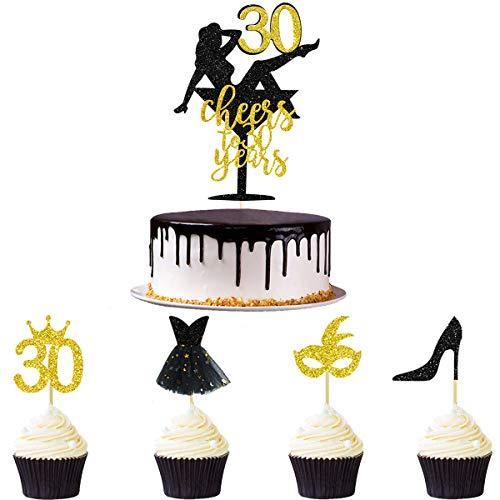 Pink Blume 33 Stück Schwarz Glitter Gold Cheers to 30 Years Kuchendekoration zum 30. Geburtstag Cake Decorations Cupcake Topper Kit für Frauen zum 30. Jahrestag Hochzeit Party Deko Ideen
