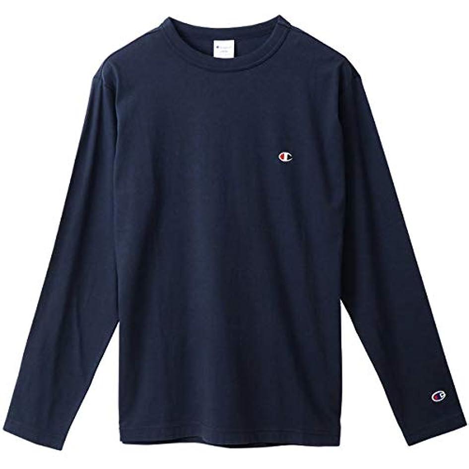 自分押し下げる痛みチャンピオン Tシャツ 長袖 CHAMPION ロングスリーブTシャツ ベーシック ワンポイント メンズ ネイビー