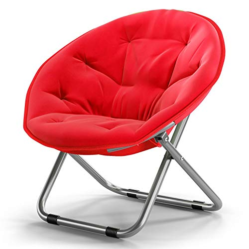 Sillón reclinable Silla Silla Silla redonda taburete plegable de salón del balcón silla de playa Silla de jardín Silla de Sun Luna silla perezosa Taburete plegable, (Color: Rojo) ( Color : Red )