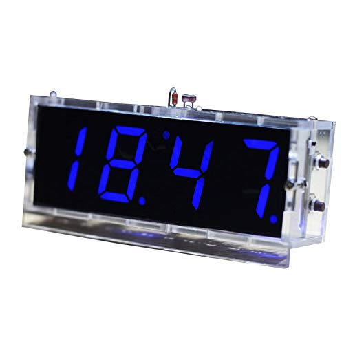 Gearwoo 4 kits de reloj digital de bricolaje, reloj parlante LED sin altavoz, PCB para soldadura práctica electrónica de aprendizaje + caja transparente, pilas CR1220/CR1216 no incluidas.
