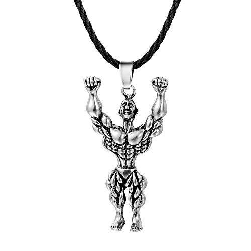 Collar Colgante Joyería Gimnasio Retro Collar Mujeres Hombres Músculo Power Rope Cadena...