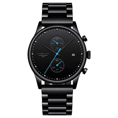 CHEETAH Herren Schwarz Ultra Thin Uhren 3ATM wasserdichte Minimalist Business Style Date Designer Analoge Quarzuhr mit Mesh Edelstahlarmband CH1605