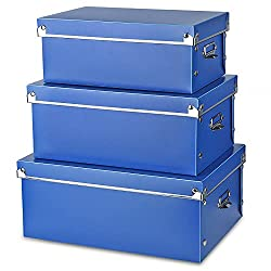 3 blue boxes stacked