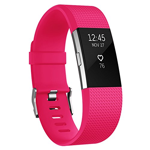 AK Fitbit Charge 2 Bands, Classic Edition Adjustable Comfortable Replacement Wristbands for Fitbit Charge 2 Heart Rate [No Tracker] (Fushcia, Small)