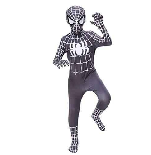 Pak voor volwassenen, zwart, Spiderman, jongenskostuums voor jongens, lycra, overall, kostuum, Halloween, prom, cadeau 120 cm Zwart