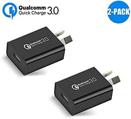 Australia 18W Quick Charge 3.0 Wall Charger, Qualcomm Quick Charge 3.0 USB Wall Charger Portable Adapter(Quick Charge 2.0 Compatible) for iPhone, iPad, Samsung Galaxy/Note and More (2Pcs Black)